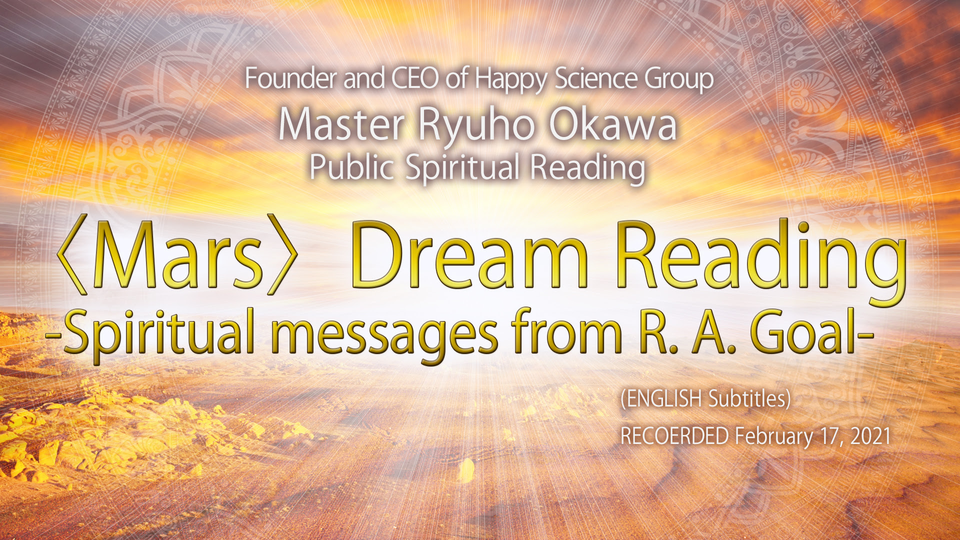 Dream Reading - Spiritual messages from R. A. Goal -